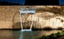 garten wasserfall beleuchtung gartenbau