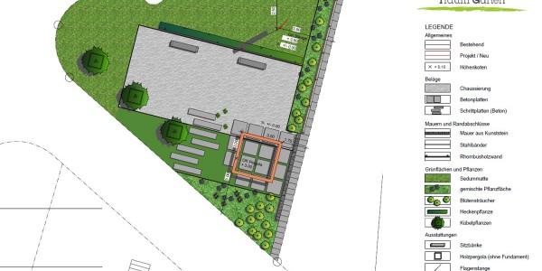 Öffentliche Gartenanlage mit Freisitz